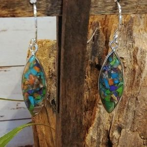 Jewelry - Multi-color Turquoise Mosaic Earrings.